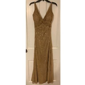 Tan gown with gold sequence